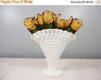 30% OFF CLEARANCE SALE Fenton White Milk Glass Hobnail Fan Vase