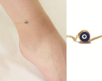 Gold Evil Eye Anklet, Ankle Bracelet with Evil Eye Charm, Nazar Anklet, Gold Evil Eye Jewelry, Talisman, Protection Bracelet /  A801