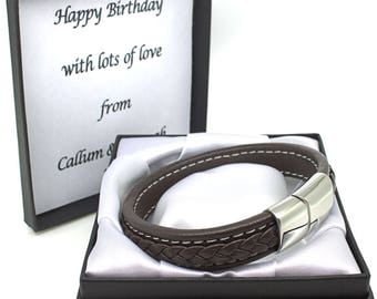 Personalised Mens Leather Bracelet Engraved Stainless Steel Clasp Birthday Anniversary Gifts For Dad Son Brother Uncle