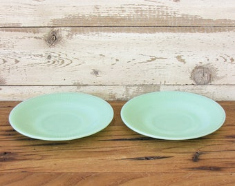 Vintage Pair of Jadeite Jane Ray Saucers Jadite Green Glass Set of 2 Anchor Hocking Fire King Logo Marked Jade-ite Mid Century Tea Plates