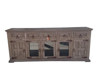 80 Inch Hi End Rustic TV Stand 5 Doors 5 Drawers Western Solid Wood Grey  Distressed