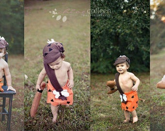 6 - 12 months bam bam baby Boy Halloween Costume comes with Hat and Club babies Halloween Costume FAST SHIPPING Contest Winner !