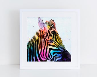 Zebra Print - Rainbow Zebra - Print of original artwork - Art Print