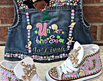 Under the Sea Mermaid Denim vest and matching sneakers