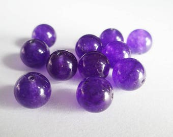 dark purple natural jade 10mm 10 beads