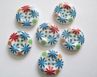 6 buttons round 23mm reason flowers 4-hole wooden cutout