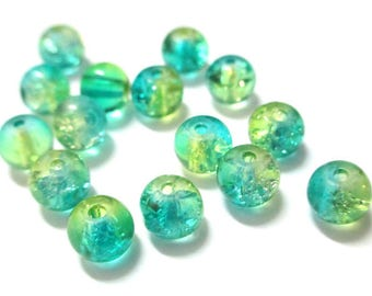 20 green and yellow 6mm Crackle glass beads