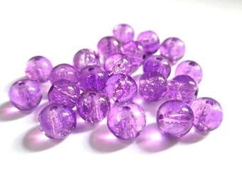 20 purple (P-16) 6mm Crackle glass beads