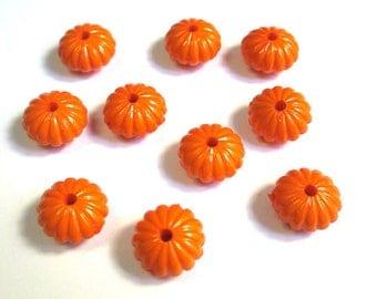 10 14x8mm orange acrylic flower beads