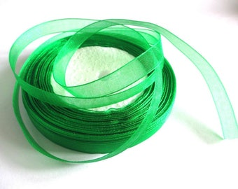 5 m organza Ribbon 10mm Green