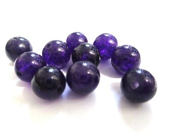 10 pearls dark purple natural jade 8mm (E-26)