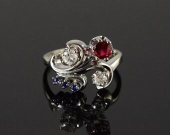 14k 0.35 CTW Diamond Sapphire Vintage Style Ring Gold