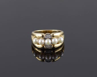 Cultured Pearl Diamond Accent Scalloped Band Ring Size 8 Gold