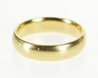 14k Rounded Classic Simple Mens Wedding Band Ring Gold