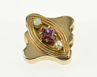 14k Tourmaline Seed Pearl Inset Slide Bracelet Charm/Pendant Gold