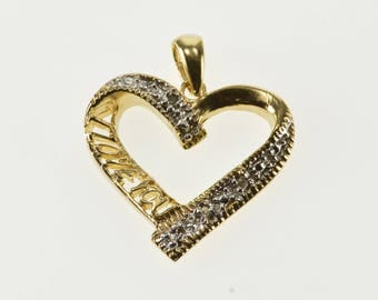 10K Diamond Inset Accent Wavy I Love You Heart Pendant Yellow Gold