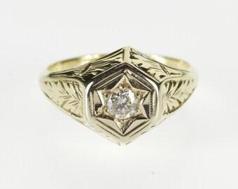 14K 0.20 Ct Diamond Ornate Scroll Engagement Ring Size 5.5 Yellow Gold