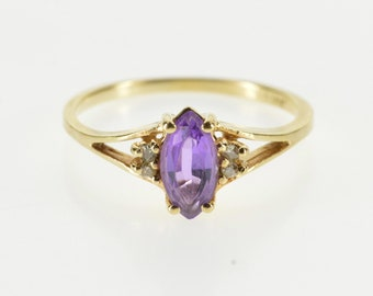 10K Marquise Amethyst Diamond Accented Three Stone Ring Size 5.5 Yellow Gold