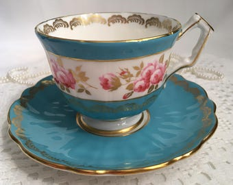 Aynsley Bone China Tea Cup and Saucer, Turquoise Blue with Pink Roses, Gold Gilding and Trim