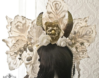 Gothic ivory  horn/ornaments headpiece-festive headpice-horn headpiece-headband-One of a kind-Ready to ship