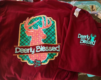 Sassy Frass Deerly Blessed long sleeve tee NEW