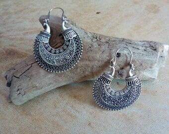 Antiqued Silver plated ethnic tribal earrings. Gypsy style earrings. Boho earrings.