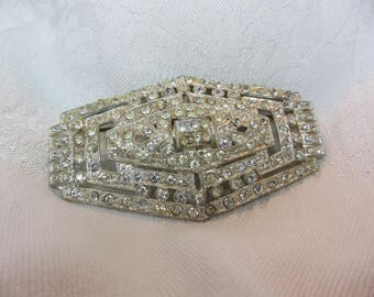 Art Deco White Metal and Clear Rhinestone Statement Brooch