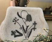 1950s Vintage Beaded Bridal Bag with Art Deco Design / 1950s Beaded Clutch with Floral Design / Vintage Bridal Bag