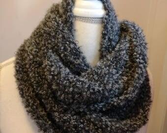 Alpaca Boucle scarf, Hand Made Scarf, Black Scarf, Women's Scarf, Teen Scarf,