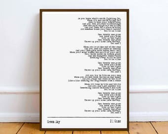 Green Day - 21 Guns - quote - Lyric Art Typography music Print Poster romance love valentine
