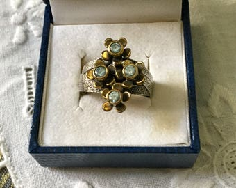 VINTAGE Blue TOPAZ VERMEIL Sterling Ring - 4 in 1-Blue Topaz - Vermeil & Sterling silver Flower - Original Design - Vintage Jewelry from France