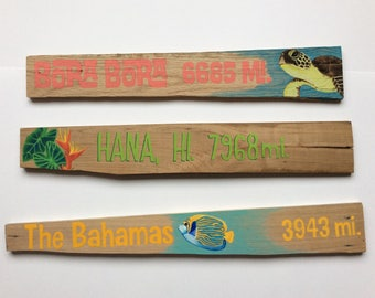 3 Custom Illustrated Signpost Signs- Set of 3