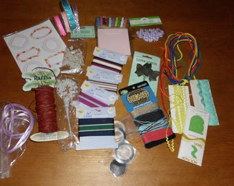 Fun Bundle of Crafting Supplies for a Song 12 Ounces Raffia Cord Ribbon Embellishments Rick Rack Laces Glitter Tape and MORE