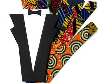 Orange African Print Necktie And Pocket Square, Teen First Tie, AfroNeckties Ankara Fabric Dress Tie, Gift For Him Mens African Clothing