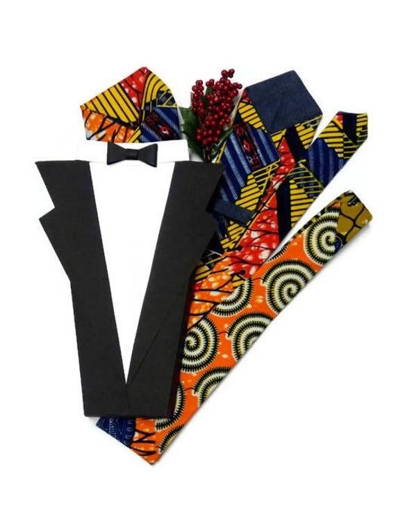 Orange African Print Necktie And Pocket Square