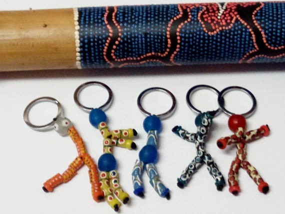 African Bead Puppet Zipper Charms, Keyrings And Keychains