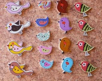 Wooden Bird Buttons Assortment