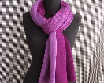 fine dark and light purple gradient knit soft wool blend scarf for men or women