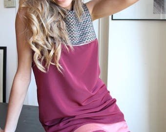 Burgundy plunging back pinafore dress