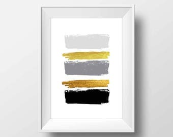 Black and gold brush strokes, wall print, minimalist art, brush strokes, simple prints, apartment decor, abstract art, brush stroke print