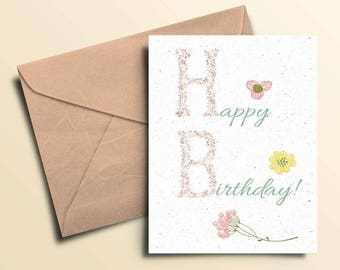 Flowery Letters Birthday Card