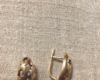 Sterling silver earrings gold plated with cubic zirconia from ukraine