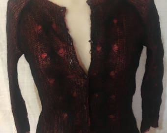 90's Free People Red/Black Sweater