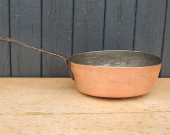 Antique French saute pan stove wok thick copper 2mm handcrafted wrought iron handle