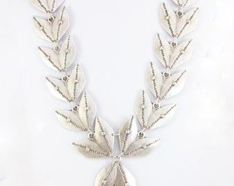 Twin Leaf, Silver Plated Necklace