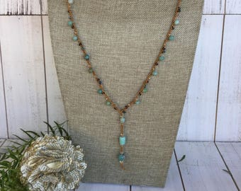 "Amazonite Gemstone and Seed Bead Y Necklace Gold Crochet Cord Amazonite Drop ""Dreamer"""