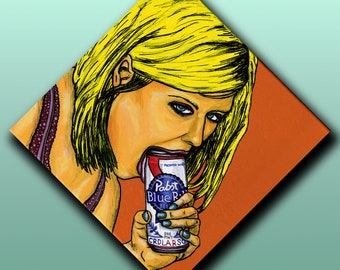 """Mackenzie"" Erotic Beer Painting [acrylic on canvas, 12x12""]"