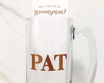 Personalized 25oz Large Beer Mug + Groomsmen Proposal Card