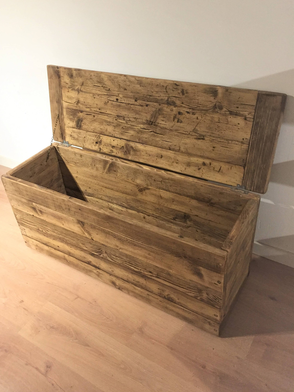 Reclaimed Wooden Ottoman Blanket Storage Box
