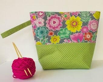 Wristlet - Knitting Project Bag - Craft Bag - Crochet Project Bag - Project Bags - Knitting Tote Bag - Knitting Bag - Yarn Project Bag
